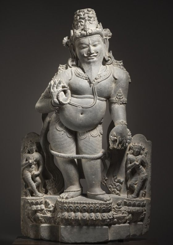 The Maharishi(Great Sage) Agastya|India,Bihar,Lakhi Sarai, 12th century.Agastya  was a great sage and religious ascetic.  He and his descendants are credited with being responsible for the introduction of Hinduism and the worship of the important god Shiva. Agastya is also believed to have taught south Indians medicine and grammar, invented the eloquent Tamil language of south India, and even written a treatise on making religious images for temples.