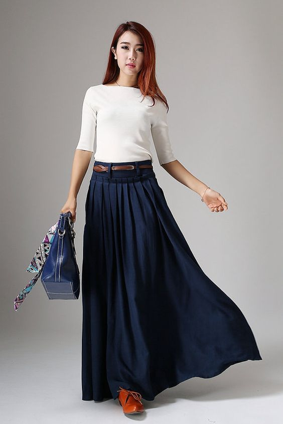 maxi skirt, long skirt, Navy skirt, Blue skirt, Pleated ...