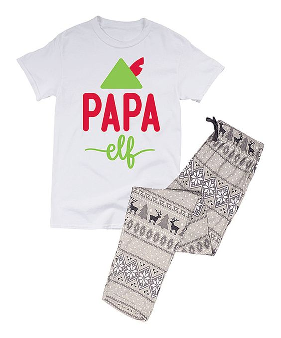 Loving this White 'Papa Elf' Pajama Set - Men's Regular on #zulily! #zulilyfinds