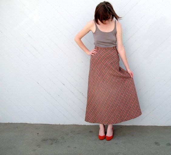 1950s vintage maxi skirt  red black and white by KranzelicVintage, $30.00