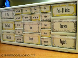 adding mine into the pinterest mix...tool box using grey and yellow, from Teaching in Room 6