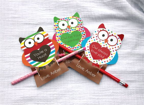 Pencil Owl Personalized Valentine's Day Cards by BabyBunsDesigns, $8.00-BOUGHT FOR AVA'S CLASS