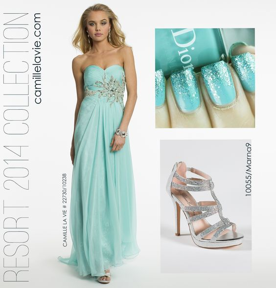 Chiffon and Lace Strapless Aqua Prom Dress by Camille La Vie: Lace Strapless, Clothes Jewelry, Dresses Long, Cassy Wedding, Dresses Skirts, Aqua Prom Dress, Camille The, Prom Dresses, Board