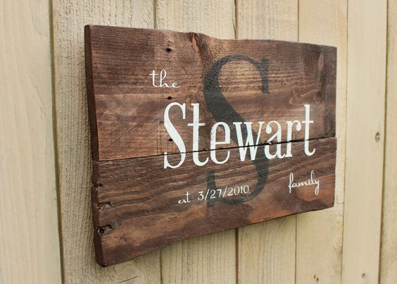 Rustic Family Name and est. date monogram reclaimed pallet wood sign established anniversary personalized distressed by WehuntWoodDecor on Etsy