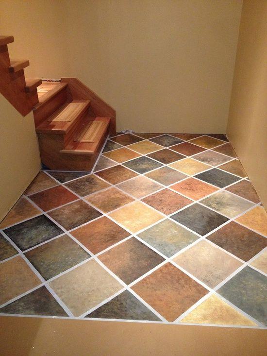 Hand Painted Concrete Floor.