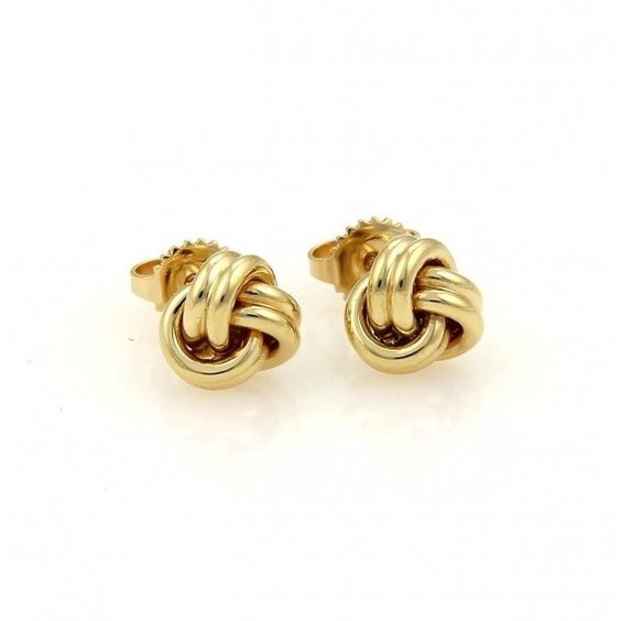 Pre-owned Tiffany & Co. 18K Yellow Gold Love Knot Stud Earrings ($625) ❤…