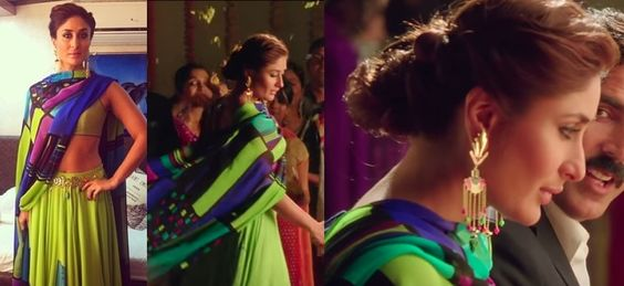 """Kareena Kapoor Khan in a Satya Paul lehenga that she wore with Manish Arora for Amrapali earrings and a chain belt for the song """"Teri Meri Kahaani"""" for the movie Gabbar is Back."""