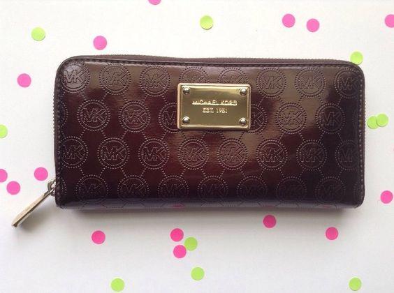 Michael Kors Jet Set Brown Monogram Continental Patent Leather Wallet Retired | eBay