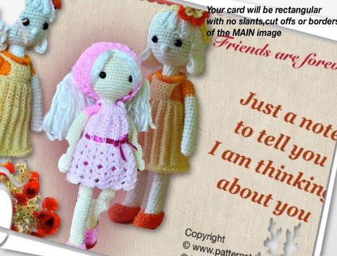 Dolls Greeting Card with Crochet Motif
