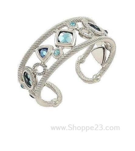 Designer (David Yurman) Inspired Bracelet Something Blue Bridal Jewelry Silver Cuff  $70.50 Free USA Shipping