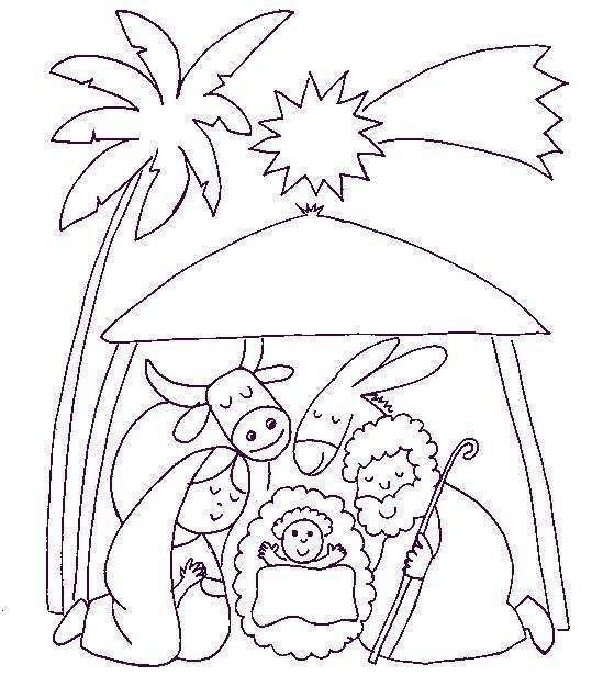 Dibujo Portal De Belen Con Estrella Y Palmera Para Colorear Pesebres Para Colorear Paginas Para Colorear De Navidad Bordado Navidad