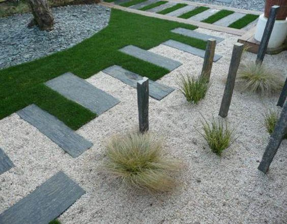 Cutting the grass would be painful but I like the sizes of paving, could use gravel/slate.