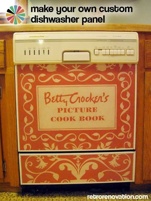 upgrading an old dishwasher with an enlarged cookbook enlargement that has been laminated