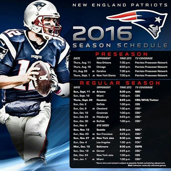 Patriots 2016 Season Schedule