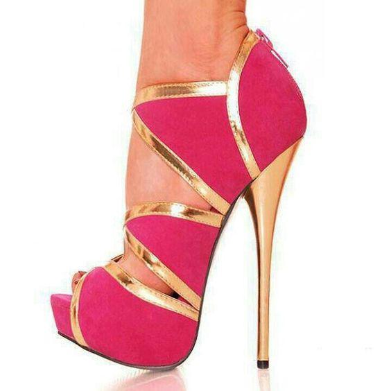 Pink and Gold stilettos
