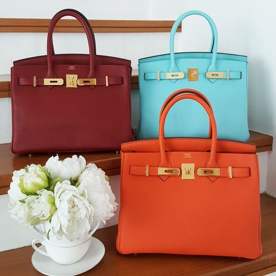 brighton purses knockoffs - Birkin, 30 cm in Feu, Rouge Hermes, and Blue Atoll....all GHW ...