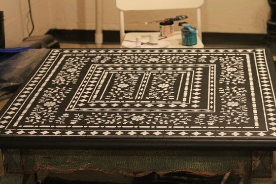 Family | Love | Home: Stenciled Coffee Table