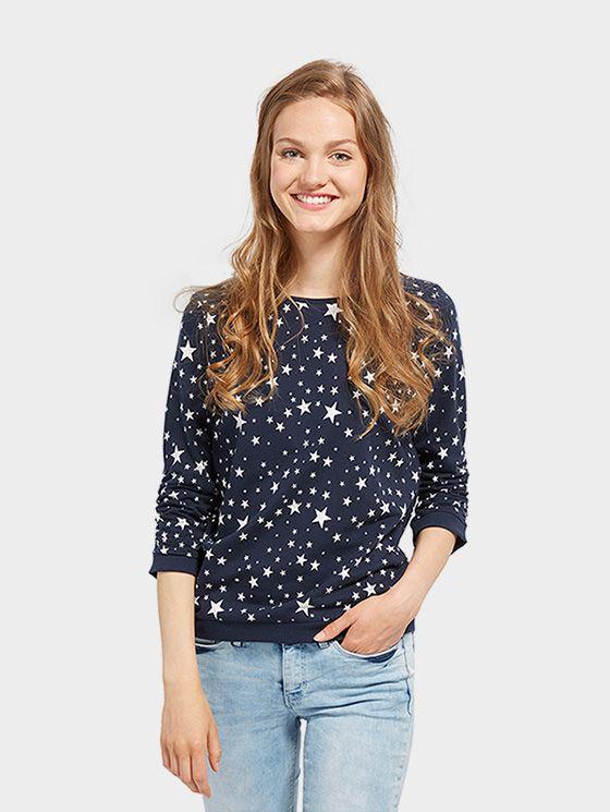 Sweatshirt Patterned Women Real Navy Blue Sweatshirts Women Sweatshirts Pattern Women