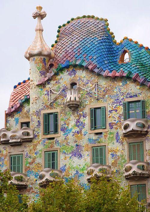 Casa Batllo was built in 1877 by architect Antoni Gaudi - Barcelona, Spain