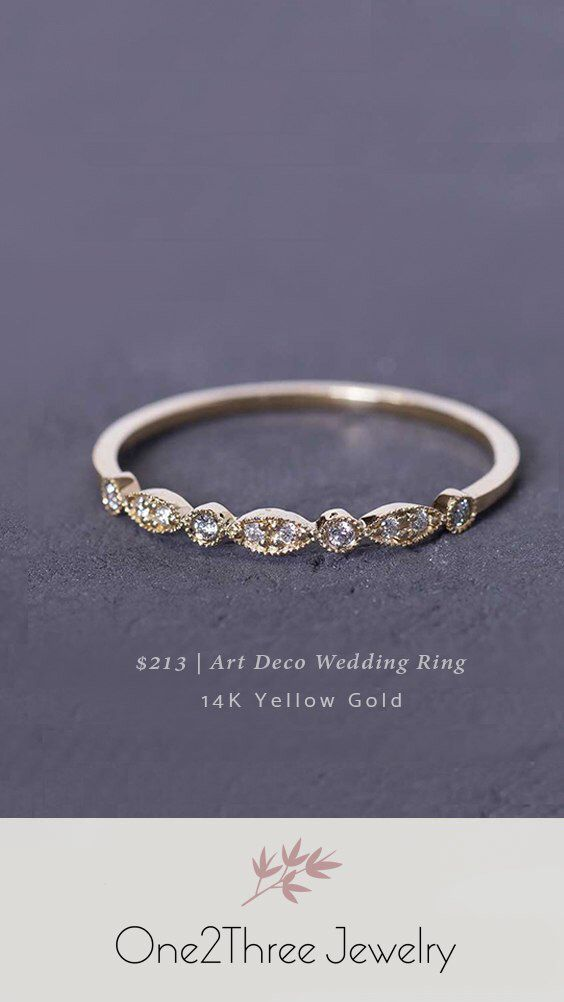 Art Deco Wedding Band 14k Yellow Gold Affordable Wedding Bands Bridal Jewelr In 2020 Wedding Accessories Jewelry Engagement Rings Affordable Art Deco Wedding Band