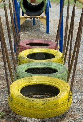 Hanging tires do you walk on these bump with these for Tire play structure