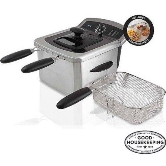 Countertop Deep Fryer 3 Baskets Viewing Lid Stainless Steel
