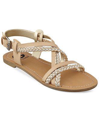 G by GUESS Women's Chiri Braided Cross Strap Flat Sandals