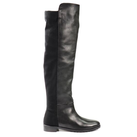 Half leather overknees - Half leren overknee laarzen