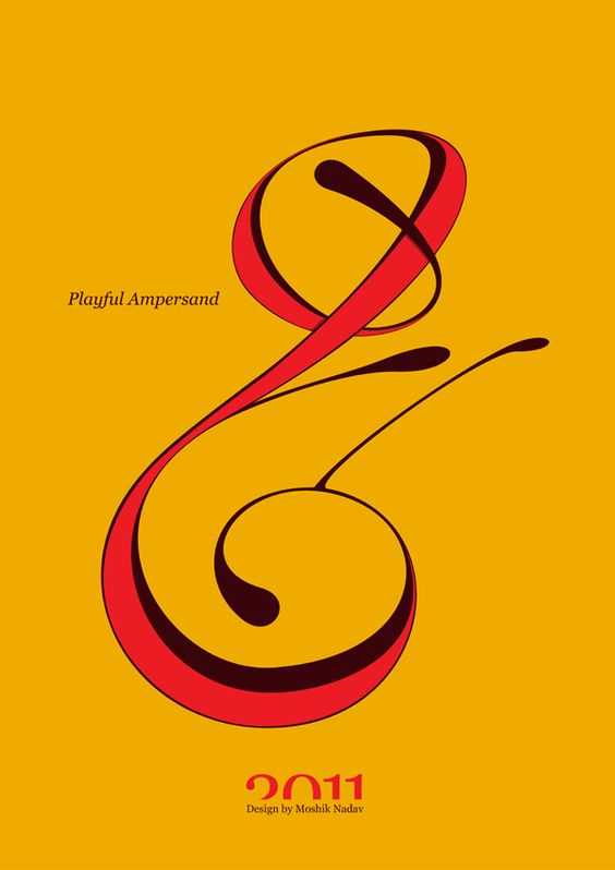 #Playful #Ampersand. #Moshik Nadav #Typography.        #ampersands #experimental #typography #typo #font #fonts #type #fashion #sleek #deep #hues #graphic #art #yellow #red #mustard #yellow
