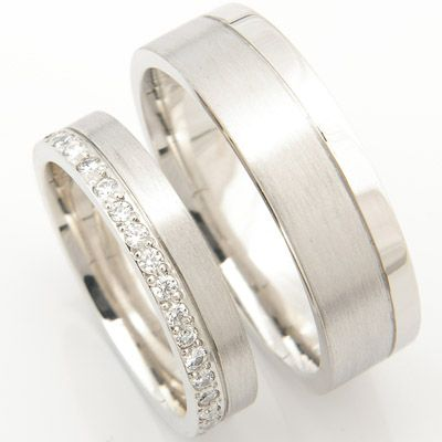 Unique Both diamond cut with a brushed finish one with added diamond sparkle a beautiful platinum matching pair of wedding rings created by Form Bespoke