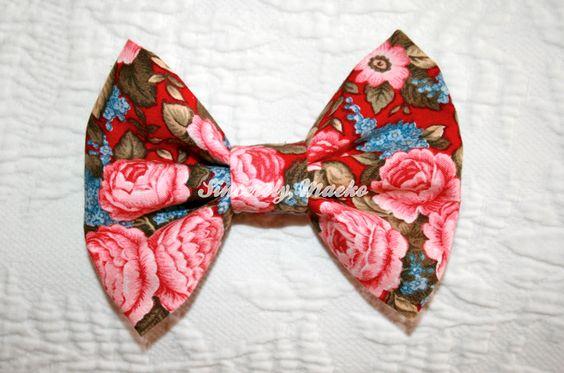 """Vintage Floral"" bow from Sincerely, Maeko!    http://sincerelymaeko.storenvy.com"