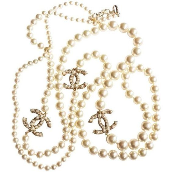 """Authentic Chanel CC Pearl 60"""" Necklace (¥338,840) ❤ liked on Polyvore featuring jewelry, necklaces, accessories, jewels, chanel jewellery, chanel, polish jewelry, chanel necklace and jewel necklace"""