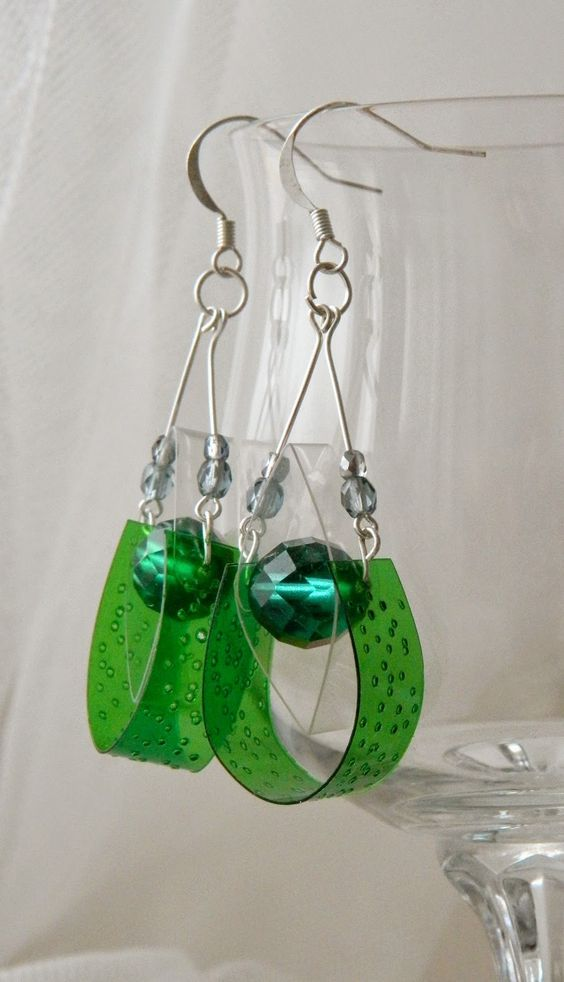 Recycled Plastic Bottle Earrings - Green Crystal Eyes handmade earrings... #recycle #upcycle #reuse