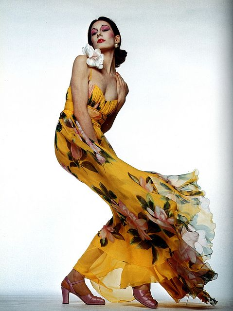 Anjelica Huston in dress by Valentino, photo by Gian Paolo Barbieri, 1972