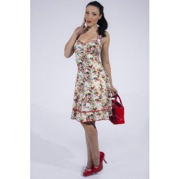 Een echte romantische zomerjurk met vrolijke bloemenprint! De jurk heeft een mooie hartvormige neklijn en is afgewerkt met rode biesjes. Geheel gevoerd, blinde rotssluiting aan de achterzijde.