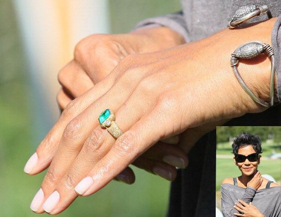Halle Berry's emerald engagement ring from French actor Olivier Martinez.
