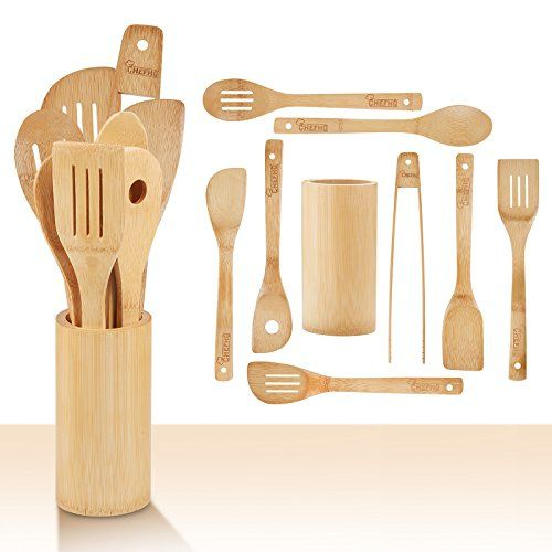 Chefhq Wooden Kitchen Utensils Set 9 Piece Bamboo Cooking Tools And Holder Spatulas Wood Kitchen Utensils Bamboo Kitchen Utensils Wooden Kitchen Utensils