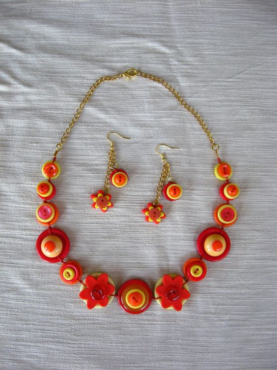 BUTTON JEWELRY button necklace shade of redorangeyellow by pupinka, $38.00