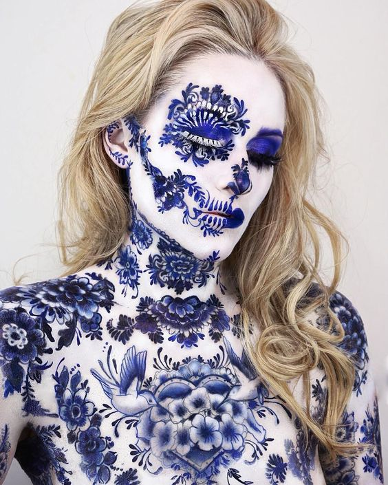 """47.6k Likes, 282 Comments - ART   Love, Learn, Art 🎨 (@art_spotlight) on Instagram: """"Ceramic Skull Makeup 🌺 By @the_wigs_and_makeup_manager"""""""