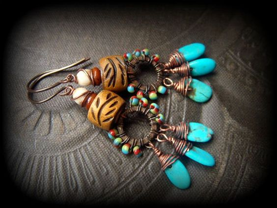 Rustic Tribal Carved Horn Hand Woven Turquoise by YuccaBloom