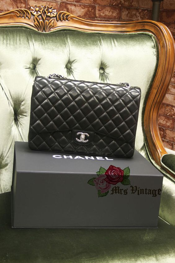 Authentic Chanel Classic Quilted Black Lambskin by MrsVintageHK, $5300.00