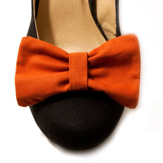 Bow Shoe Clips  Rust Orange  <- uber cuteness
