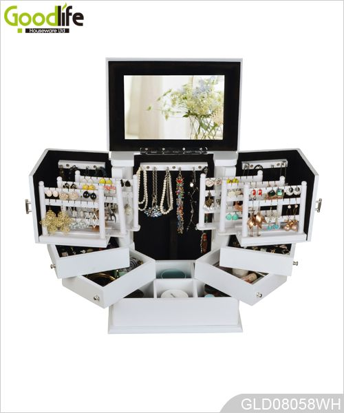 Cosméticos de madeira pintada e caixa de armazenamento de jóias
