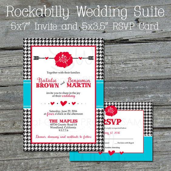 Rockabilly Wedding Invite Invitation and Response Card RSVP Digital Printable Steampunk rose heart wedding invitations set