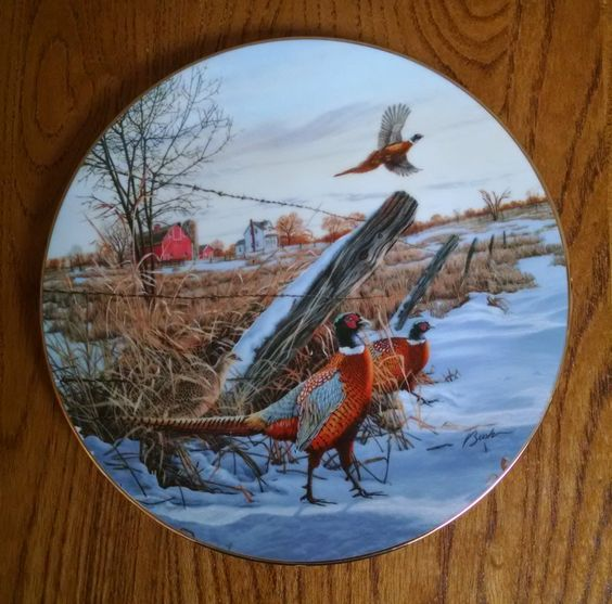 Ring Necked Pheasant Plate - Darrell Bush - Field Birds of North America - First…