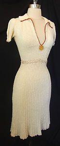 VTG 30s Great Depression WWII Era Rayon Sweater Dress w Bakelite Button Accent
