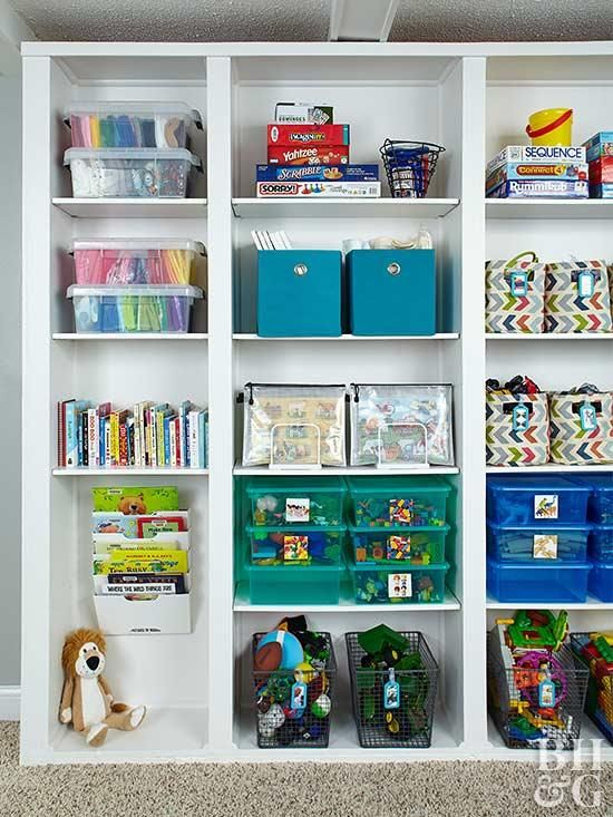 Transform An Unorganized Bookshelf From Scary To Storage Friendly Bookshelves Kids Toy Storage Shelves Storage Kids Room