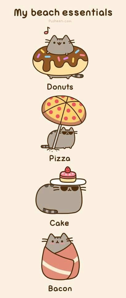 A doughnut to float, a pizza to lounge under, a cake to block the UVA/UVB rays, and bacon to dry off with…