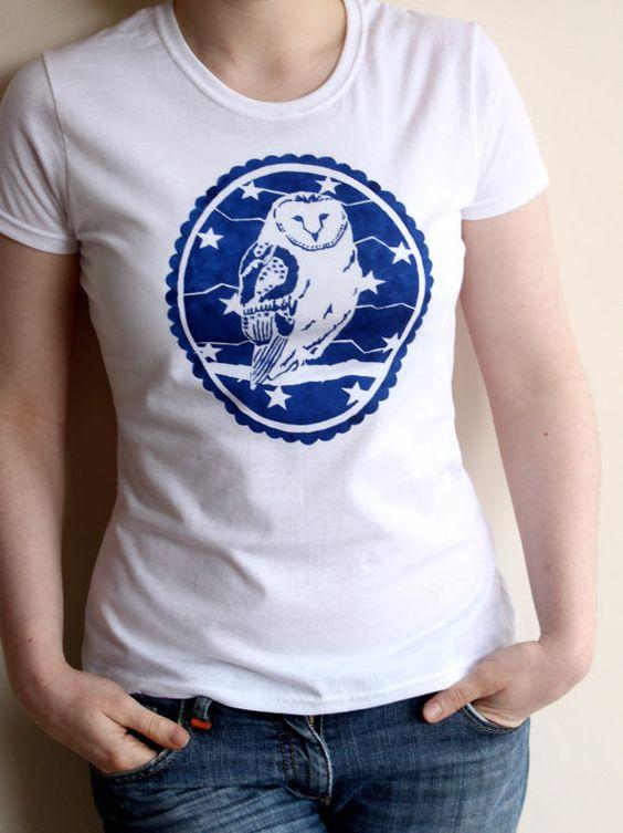 Owl T Shirt  Womens T Shirt   Barn Owl Shirt  Owl von proudcloud, £13,00
