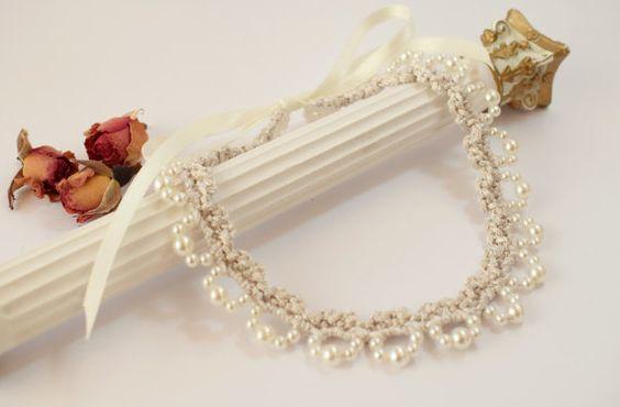 Collar gargantilla de perlas Collar boda joyería por DIDIcrochet